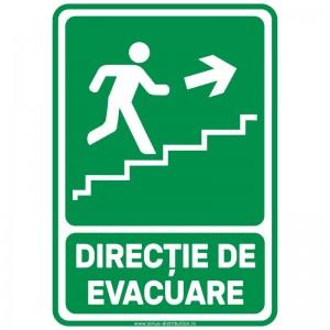 Indicator autocolant - Directie de Evacuare Trepte SUS DREAPTA - A5