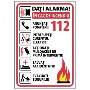 Autocolant A5 - Procedura in caz de incendiu (1 buc)
