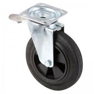 Roata cu ax rotativ pentru containerul de gunoi metalic cu sistem de franare