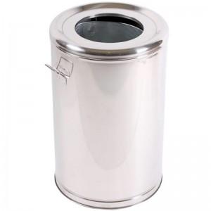 Cos de gunoi inox cu galeata interioara metalica si accesorii (roti si maner) 38*60 cm - 65L