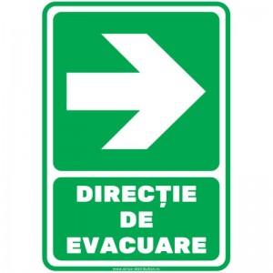 Indicator autocolant - DIRECTIE DE EVACUARE - dreapta - PVC plastifiat - A4 - 210x297mm (1 buc.)