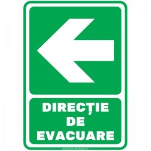Indicator autocolant - DIRECTIE DE EVACUARE - stanga - PVC plastifiat - A4 - 210x297mm (1 buc.)